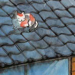 calico on a roof