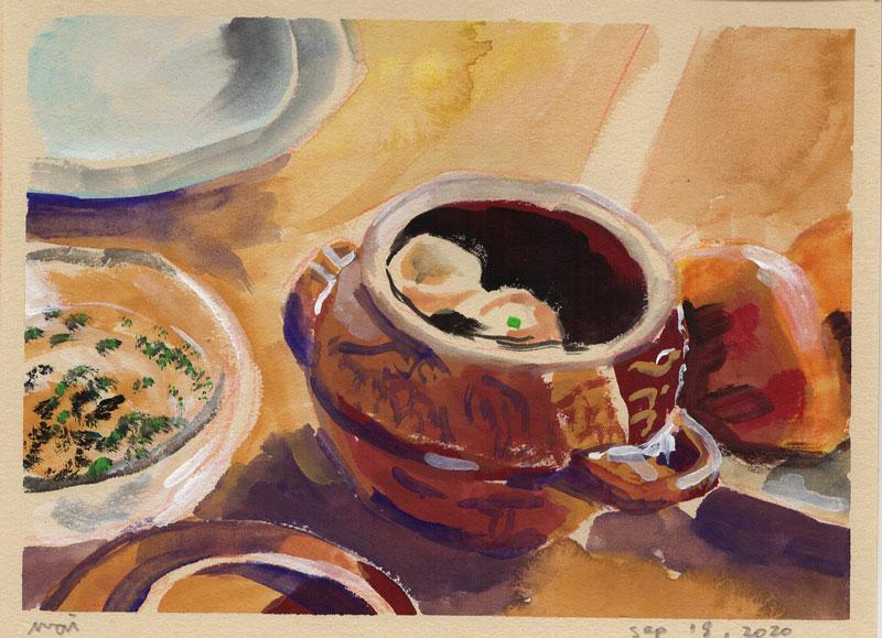 various gouache paintings
