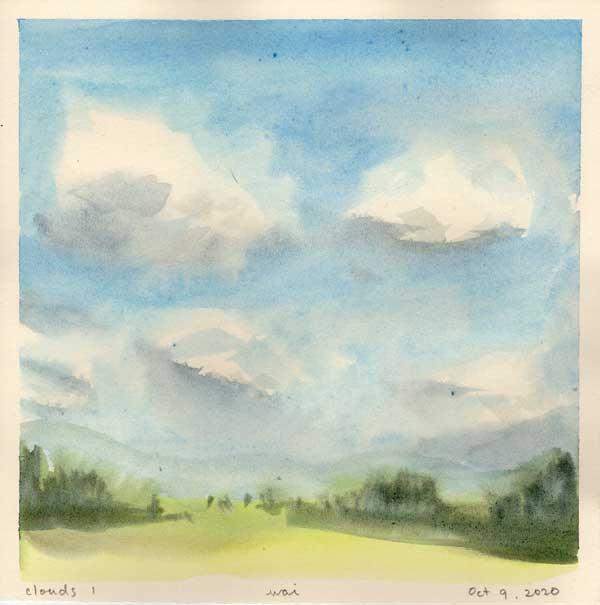 watercolour clouds